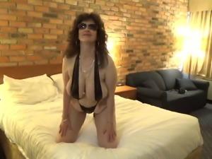 Tinja Barely Stays In A Black Monokini