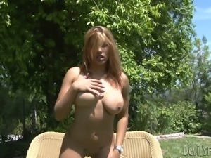 She Sheds Her Glasses and Bikini While Getting Naked Outdoors