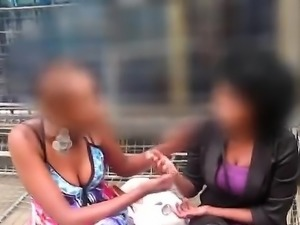 A naughty African amateur tongues a chunky lesbian friend