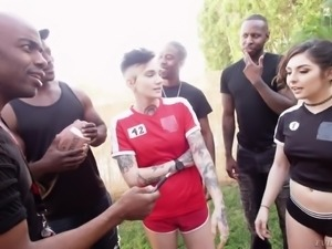 Pigtailed sporty gal Keira Croft gets brutally fucked by black coaches