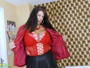 Wearing sexy red stuff mature whore Lulu plays with her saggers and old cunt