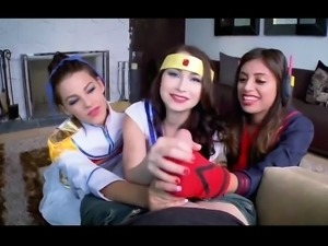 Three naughty teens in funny uniforms worship a cock in POV