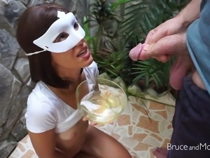Gorgeous Girl Drinks Piss and Sperm