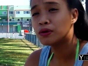 Adorable asian teen loves the taste of raw meat