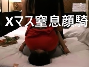 Dominant Asian lady makes her slave lick her juicy panties