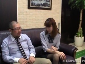 Japanese secretary lets her boss finger her pussy in an office