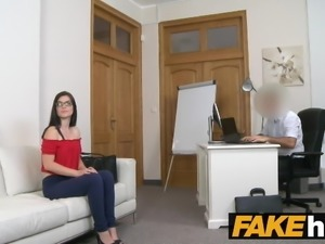 Fake Agent Tight amateur in glasses creampie porn casting