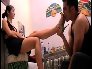 Slaves lick Ladies shoes