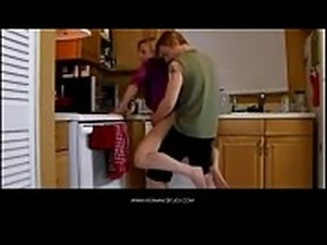 American Girlfriend bang with stepson ein kitchen POV