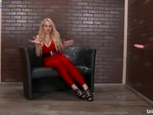 Funny fake bukkake show with awesome giant breasted blonde bombshell