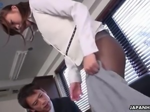 Japanese office whore Aihara Miho is ready to be fucked by two dudes