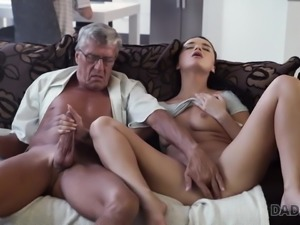 DADDY4K. Middle-aged man has fun with son's unsatisfied girl