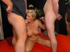 Fantastic blonde cougar Maria Montana lets dudes fuck her mature cunt