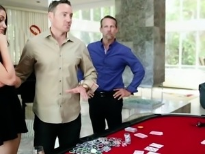 Avi Love takes a group pussy pounding on the poker table