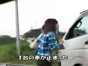 Pretty Japanese babe gets picked up and fucked in the van