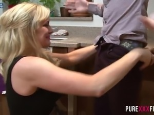 Awesome bosomy blondie Louis Loveheart is totally into riding fat cock