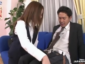 Shy looking but cunning trainee Rei Haruka lures her boss for sex