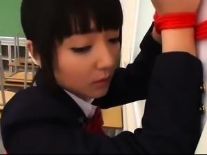 Pretty Japanese schoolgirls play out their lesbian fantasy