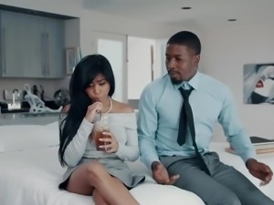 Lewd black BF cannot help but eating pussy of Asian sweetheart Ember Snow