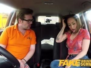 Fake Driving School Big tits Spanish learner loves sucking