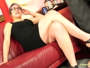 Bitch poses for the camera at first then sucks cock
