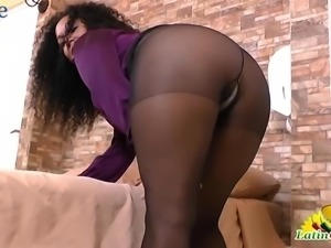 Curly Latina mature lady is happy to pet her own old cunt a bit