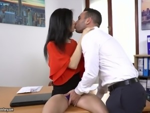 Naturally stuck slender and leggy secretary Nikki Fox rides dick at work