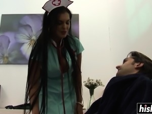 Brunette nurse pleases a hard dong