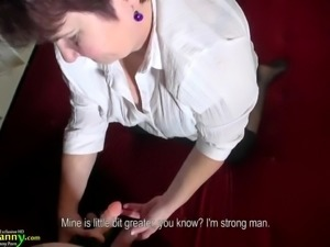 Moon-faced mature whore Hana is happy to suck and stroke strong cock