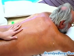 European 18yo masseuse fucked by grandpa