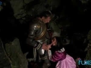 Brave prince saves a princess from a wild dragon and gets rewarded with BJ