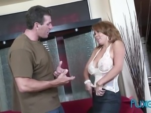 Fabulous horny MILF with giant boobies is so into some hard cock riding