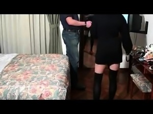 Cheating Japanese wife in stockings gets rammed by her lover