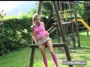 Amateur - Cutie Blond Teen Masturbates Outdoors