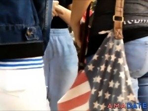 4 COLLEGE YOUNG GIRLS TIGHT ASSES IN JEANS HIDDEN CAM