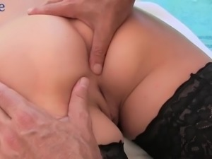 After sucking balls and big cock lusty Christiana Cinn gets nailed doggy