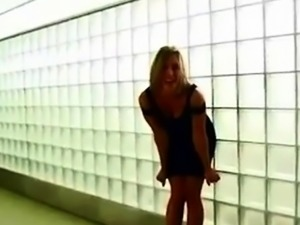Muscle girl pantieless in mini dress ass flash