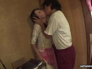 Before fucking too hairy cunt of Chika Sasaki dude prefers to play with her