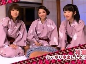 Delightful Japanese girls take turns enjoying a POV cock