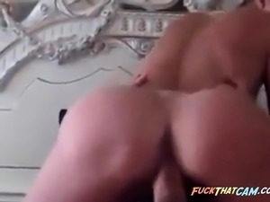 Blonde sucks cock and rides it on cam show