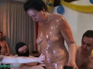 Tanned real whore Barbara is ready to be brutally gangbanged