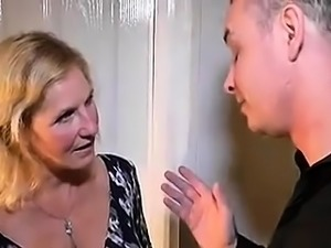 Sexy mature blonde with nice tits is a sucker for young meat