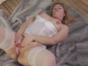 Busty gorgeous MILF gets her pussy licked and fucked mish by two aroused studs