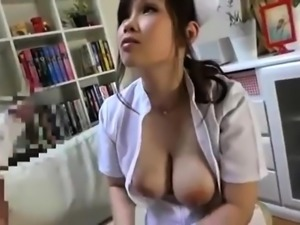 Big breasted Asian nurse takes a hard shaft in her wet pussy
