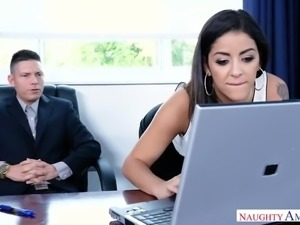 Alluring bootyful secretary Mia Martinez teases boss with lap dance