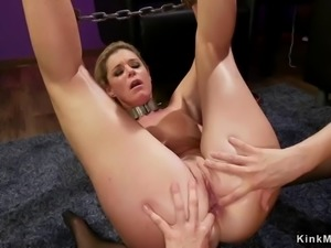 Blonde milf whips ass to lesbian therapist