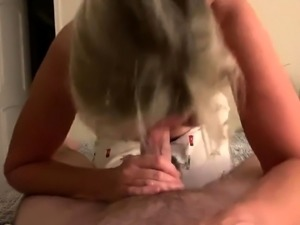 Mature blonde wife works her hot lips up and down a POV cock