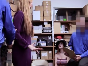 Busty redhead teen and her MILF mom thief got punished