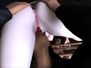 Alluring 3D babe gets fucked in every hole by a hung monster