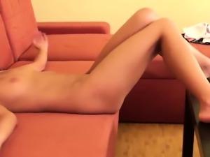 Virgin temptress flashing small bald pussy